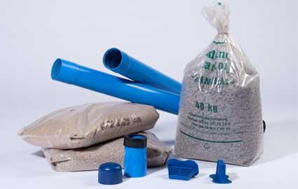Filterkies Brunnen.Tonpellets Filterrohr Vollrohr Filterkies
